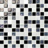 까맣고와 회색과 백색 유리제 수정같은 모자이크 광택 있는 벽 도와
