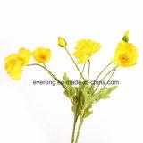 Neue Entwurfs-künstliche Mohnblume-rote Mohnblume mit 3 der Blumen-Kopf-roten Farbe künstliches Poppyflowers für Sale