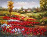 Paisagem do mar de flores vermelhas pintura a óleo sobre tela