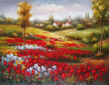 Flor roja Mar paisaje Óleo sobre tela