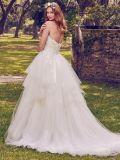 Spitze-Hochzeits-Kleid-geschwollene Appliqued Hochzeits-Kleider Strapless Vestido De Noiva W14905