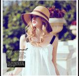 Chapéu Foldable Palha-Tecido verão de Sun das mulheres