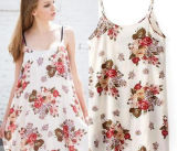 Flower impresso tecido vestido de poliéster (PPF-074)