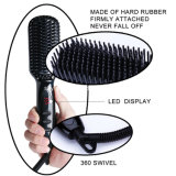Visor LCD mágico eléctrico rápido de massagem de alisamento de cabelo escova alisadora de cabelo