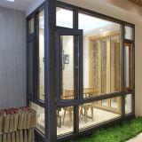 Double guichet en verre en bois plaqué en aluminium de tissu pour rideaux