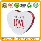 バレンタインデーのロマンチックなハート形のミルクチョコレート錫ボックス