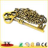 Tag do animal de estimação da liga do zinco do metal do ouro e forma Dogtag da chave