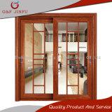 Puerta deslizante exterior de mirada de madera del interior de aluminio del marco