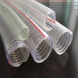 Manguito reforzado PVC transparente del alambre de acero