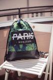 2018 Nuevo cordón impresión Hoja creativas bolsas para los adolescentes de cuero de PU en la parte inferior de la Moda Feminina Softback Mochila mochilas