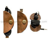 OEMの熱い販売の革ボビンUSBワイヤーイヤホーンケーブルクリップ巻取り機