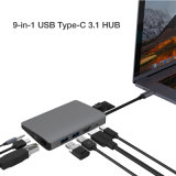 C 허브 USB 3.1 유형 C 2xusb3.0A +RJ45/1000m +Minidp+SD/TF+Pd+Audio3.5+HDMI를 타자를 치십시오