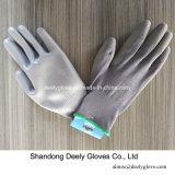 Graue PU-Handschuhe graue PU tauchte Palme beschichtete Arbeitshandschuhe ein