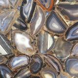 De opgepoetste Plak van de Steen van het Agaat van de Halfedelsteen van de Luxe Backlit Halfedel Zwarte