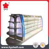 円形の端の単位が付いている金属のスーパーマーケットの棚