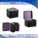 PUの革装飾的なボックスマニキュア(5717)のための2つの層のジッパーの収納箱