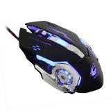 賭博マウスMause 4000dpiの調節可能なコンピュータ光学LEDのゲームマウスは専門のGamerのためのUSBのゲームケーブルマウスLolをワイヤーで縛った