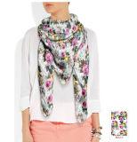 Blumenmuster-reiner Silk Schal mit verschiedenen Geweben