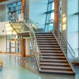 Escaleras de cristal comerciales modernas de la barandilla del pasamano con la pisada antirresbaladiza de la escalera