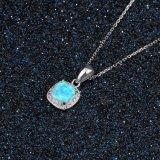 도매 형식 보석 사각 파란 단백석 은 순은 목걸이 보석