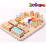 Geometrics de madera registra los bloques que aprenden temprano los juguetes del rompecabezas de la educación del bebé