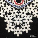 29*28cm tingiu o Applique floral do laço do Neckline do algodão para acessórios do vestido de casamento o mais tarde projetam com franja da flor e furam a tela Hm2012 do laço do colar