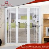 Porte coulissante en aluminium de profil blanc avec le double verre trempé
