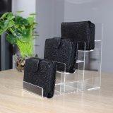 Stand acrylique noir de pochette de présentoir de bijou de contre- dessus