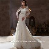 Vestidos de casamento longos Kz1040 do laço da sereia dos vestidos nupciais das luvas