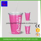 18 oz tasses à double paroi en plastique avec couvercle de paille