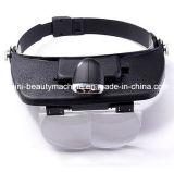 손은 2개의 LED 빛 및 4 렌즈를 가진 맨 위 머리띠 헬멧 돋보기 유리 루페 헤드 돋보기를 해방한다
