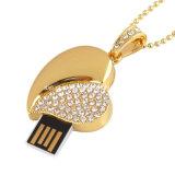 De Aandrijving van de Flits van het Hart USB van de Juwelen Pendrive van het Kristal USB van de halsband