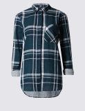 Пригонка шотландки тонкая проверила рубашку с Поворачивает-Вниз ворот