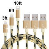 Sinc. trenzada de nylon del cable de datos del metal durable que carga el cable del USB para el iPhone
