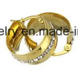 Nagel van het Oor van de Manier van de Reeksen van de Juwelen van Shineme de Goud Geplateerde met Tegenhanger met Zwarte Steen (ERS6999)