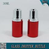 30ml装飾的な液体の本質の血清の点滴器のびんの赤いアルミニウム精油のびん
