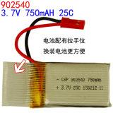 902540pl 3.7V 750mAh Li-Polymeer de Batterij van Li-Po van de Lossing van de Batterij 25c