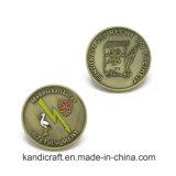 Moneta commemorativa di sfida del ricordo del commercio all'ingrosso del ODM del briscola del doppio del metallo di precisione del metallo della moneta dell'oggetto d'antiquariato dell'ondulazione d'argento su ordinazione di Antiqu per il regalo promozionale
