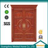 Tornar a porta de madeira contínua pintada com vidros