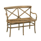 Chaise de banc 2 places en bois à dossier croisé (UF-204)