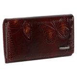 Portefeuille van het Leer van de manier de Bruine Echte, het Ontwerp van de Vlinder Dame Wallet Costom Brand Logo Portefeuille