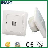 Ivory weiße Wand-Kontaktbuchse mit USB-Kanälen