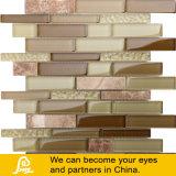 Venta caliente Brown y mosaico horizontal amarillo del vidrio cristalino de la mezcla