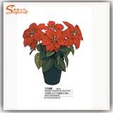 2016匹の熱い販売の人工的なプラスチッククリスマスのBonsaiの絹の花
