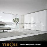 顧客用光沢度の高いラッカー塗りの白いワードローブの戸棚Tivo-0006hw