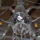 Restaurante Europeu Decorativo Chrome Columnar LED Pendant Lamp com Crystal Drop