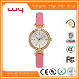 OEM van de Douane van de manier de Riem van het Leer Dame Diamond Swiss Watch (wy-004)