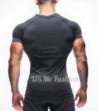 주문 적당 착용 인쇄 근육 남자를 위한 건조한 적합 체조 t-셔츠