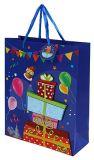 Saco do presente de aniversário, saco de compra de papel, saco do papel de embalagem, Sacos atuais da festa de anos 3D com Tag