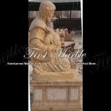 Escultura antigua travertino tallado a mano para decoración de jardín Ms-914